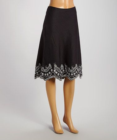 Another great find on #zulily! Black Embroidered Scallop A-Line Skirt by Joy Mark #zulilyfinds