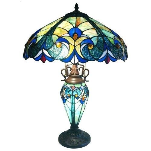 3-Light Victorian Tiffany Style Multi-Colored Glass Table Lamp Beautiful Blue #VictorianStyle