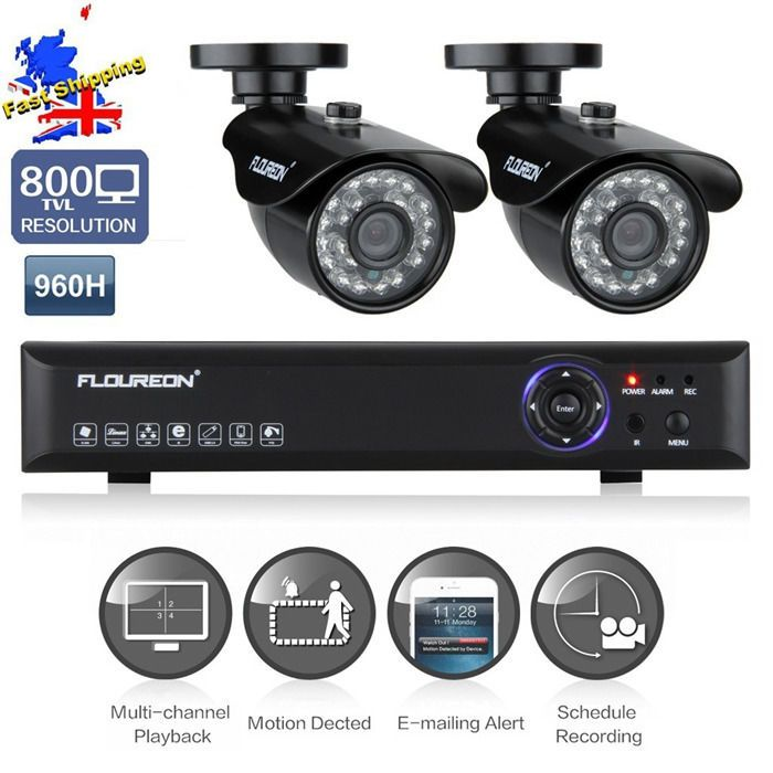 New Floureon 1 X 4ch 960h Dvr 2 X Outdoor 800tvl Camera Hdmi Security Kit Uk Cctv Camera Remote Viewing Surveillance System