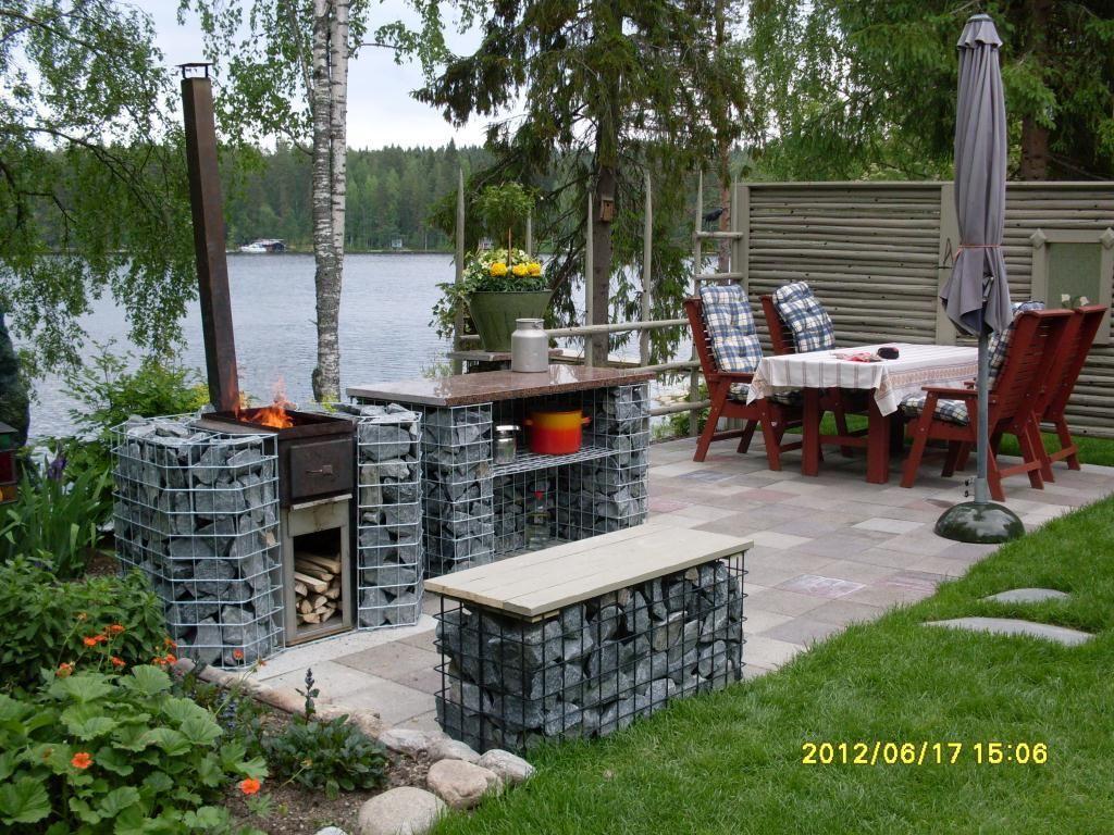 Sommerküche Bauanleitung : Kesäkeittiö kivikoreilla tehden gabions kivikorit puutarhassa