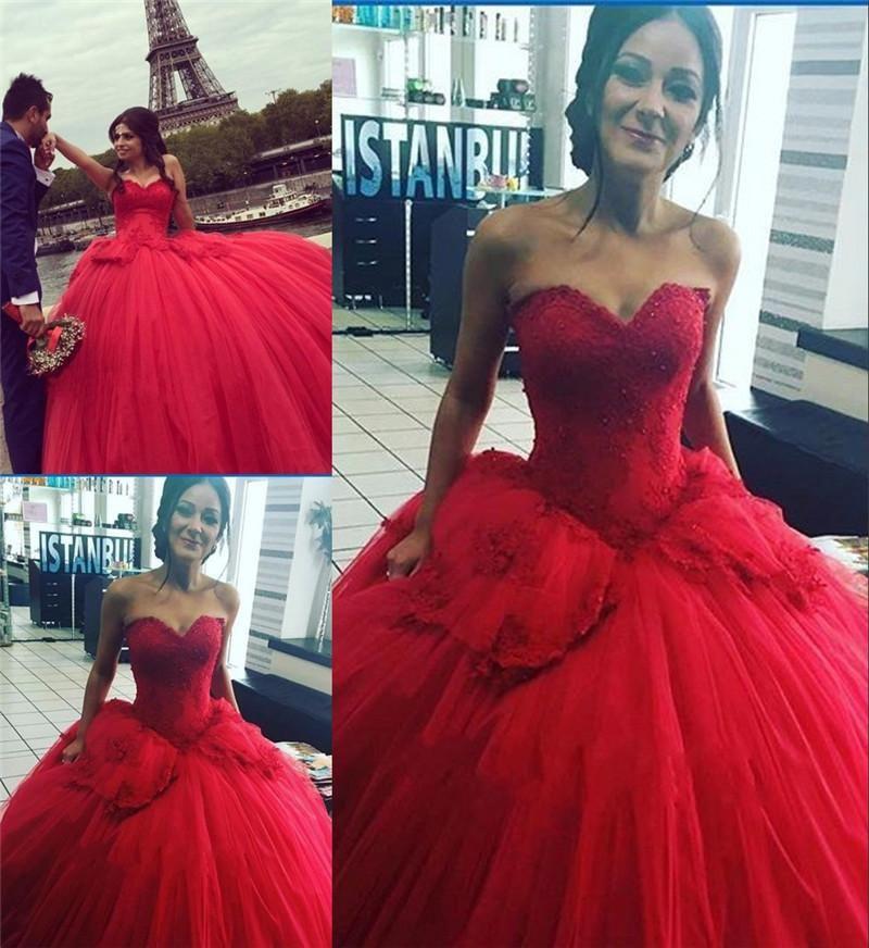 Romantic Red Ball Gown Wedding Dresses 2016 Vintage Lace Plus Size ...