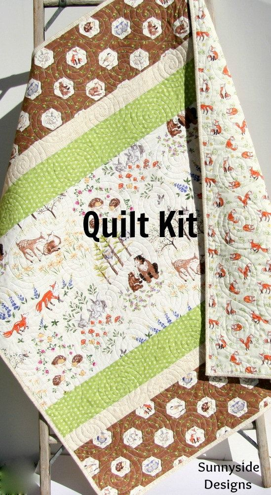 Woodland Baby Quilt Kit Diy Project Forest Frolic