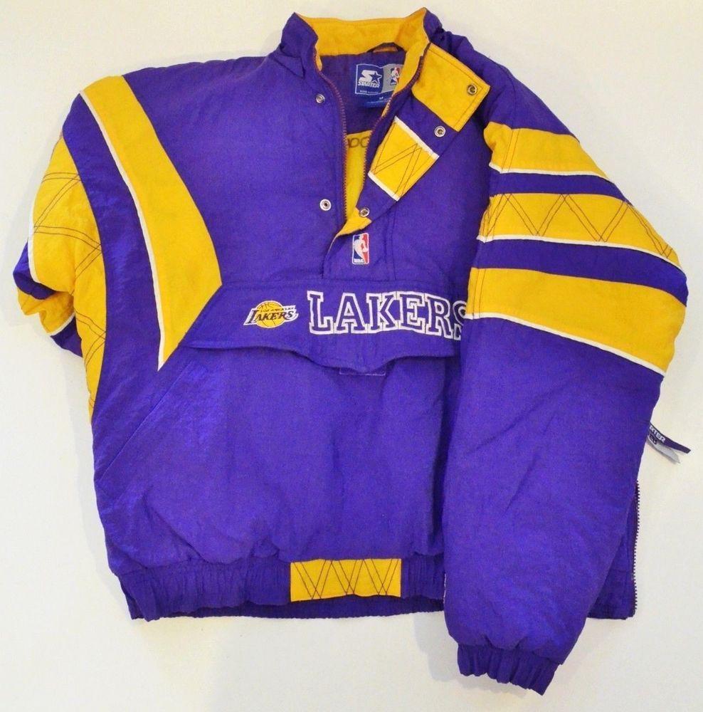 Vintage Los Angeles Lakers Starter Nba Authentics Half Zip Pullover Jacket Sz M Ebay Link Half Zip Pullover Pullover Jacket Jackets
