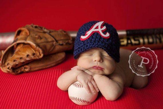 87a9e8754 Atlanta Braves Hand Crocheted Baseball, newsboy hat Newborn Photo ...