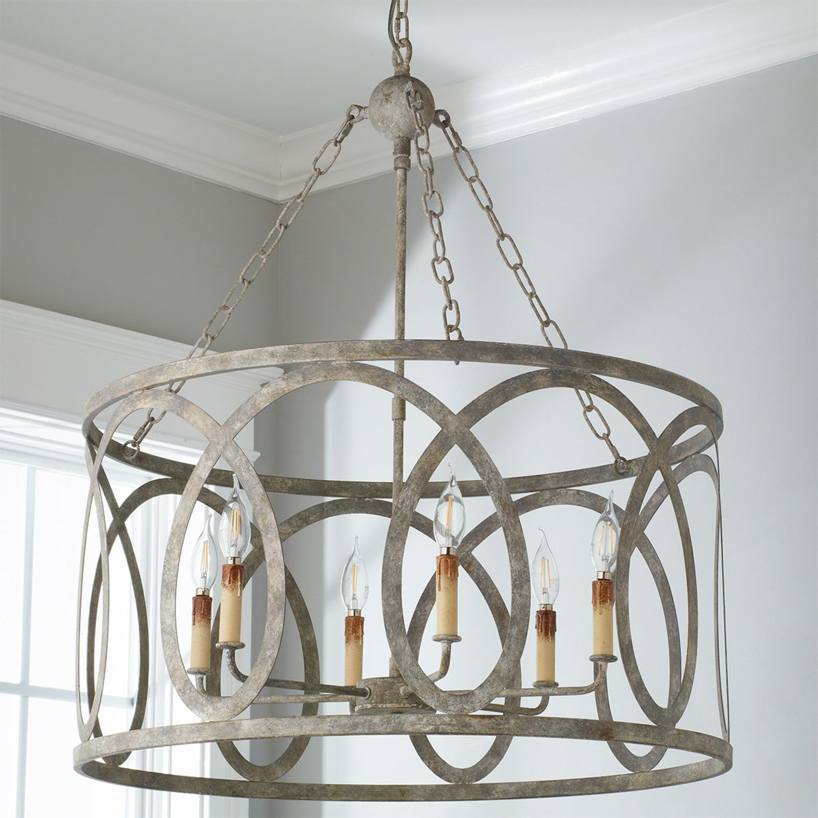 Circle Cage Candles Chandelier Drum Chandelier Grey