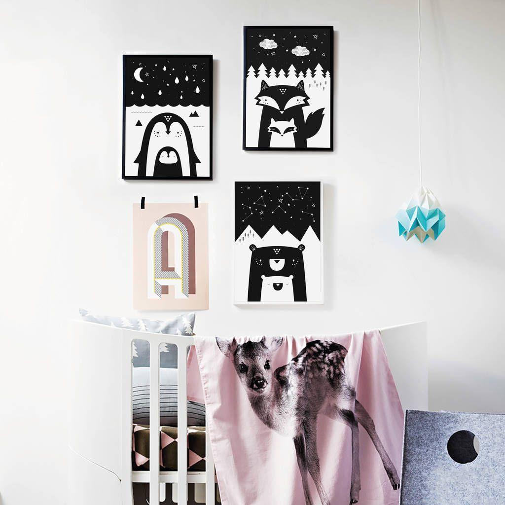 Animal Nursery Art Print Trio Modern And Monochrome