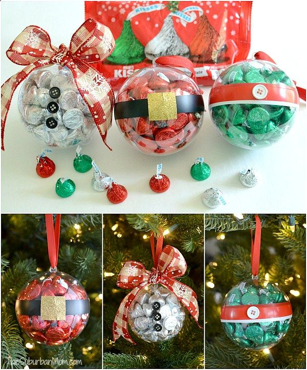 Easy DIY Christmas Ornaments made with Hersheys Kisses. Great small ...