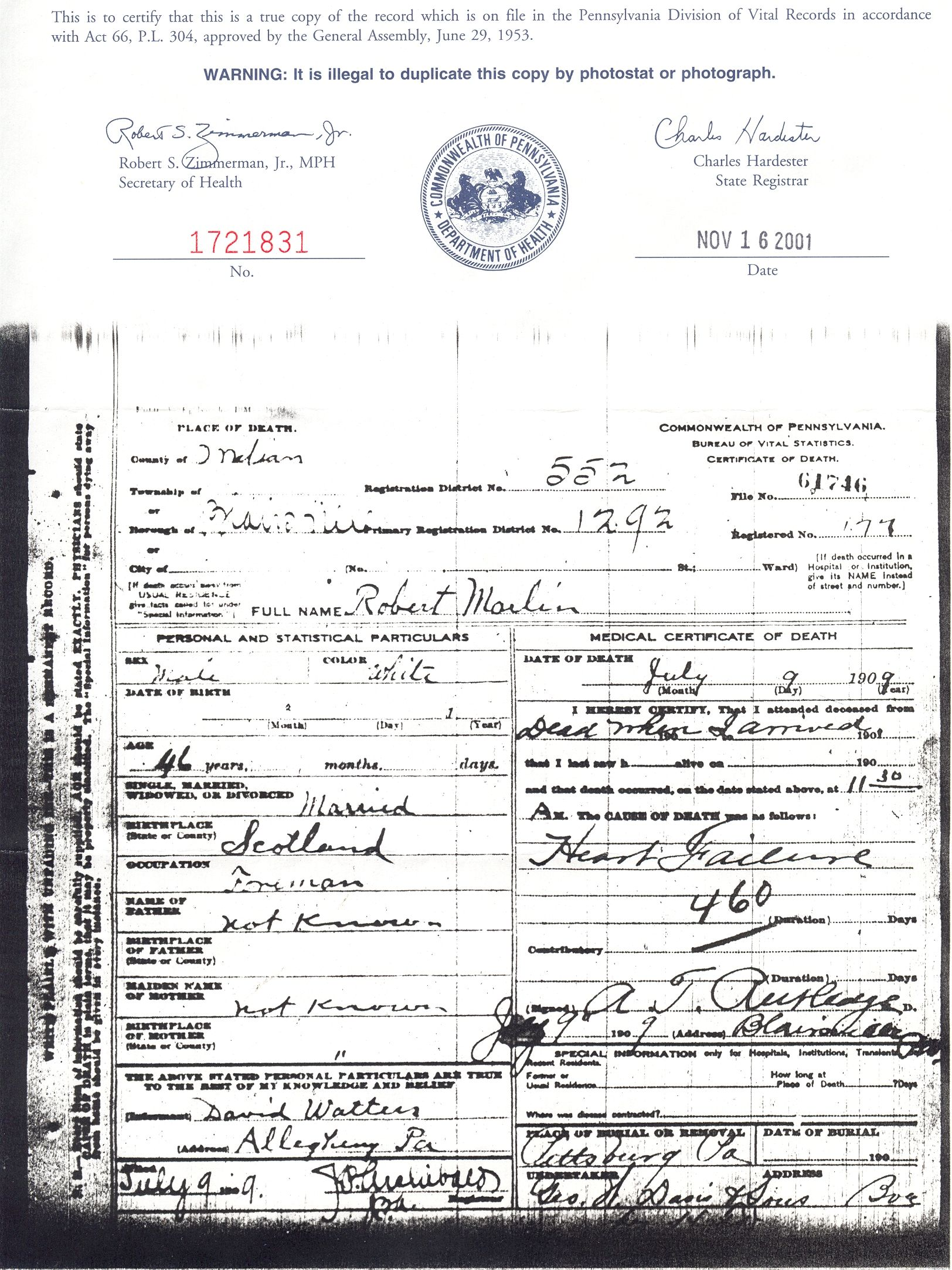 Robert marlin death certificate indian county pennsylvania 1909 robert marlin death certificate indian county pennsylvania 1909 1betcityfo Choice Image