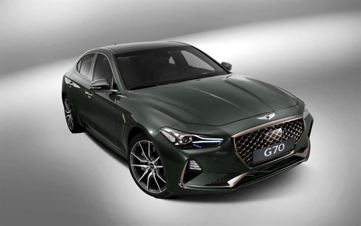 Download Wallpapers 4k Genesis G70 Studio 2018 Cars Green G70 Luxury Cars Genesis Besthqwallpapers Com Voitures Vertes Voitures De Luxe Voiture
