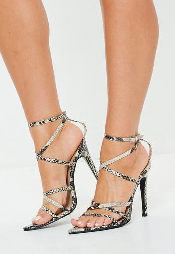 3b6c31ebb788 Grey Snake Print Pointed Toe Heeled Sandals