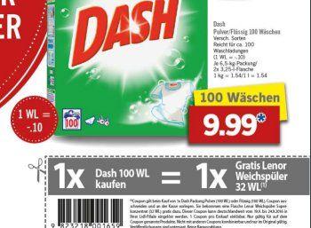 Gratis: Lenor-Packung zur Dash-Großpackung für 9,99 Euro https://www.discountfan.de/artikel/c_discounter/gratis-lenor-packung-zur-dash-grosspackung-fuer-9-99-euro.php Ein Angebot, das sich gewaschen hat: Wer in der kommenden Woche das 6,5-Kilopack Dash zum Aktionspreis von 9,99 Euro kauft, erhält eine Flasche Lenor-Weichspüler kostenlos dazu, wenn ein entsprechenter Coupon an der Kasse vorgelegt wird. Gratis: Lenor-Packung zur Dash-Packung für 9,99 Euro (B... #Waschmi