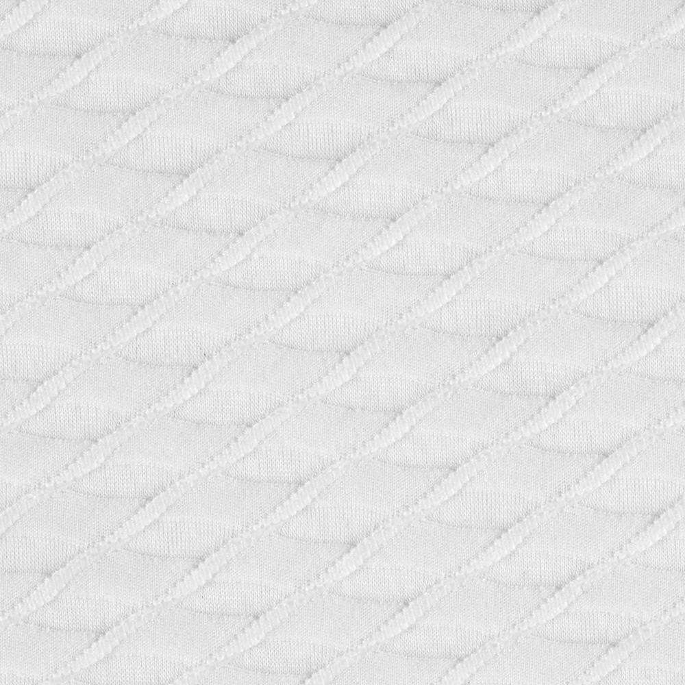 Novelty Burnout Knit Textured Diamonds White from @fabricdotcom  This jersey knit fabric is perfect for layering apparel and overlays. It features sheer burnout textured diamonds and four way stretch- 25% across the grain and 15% vertical.