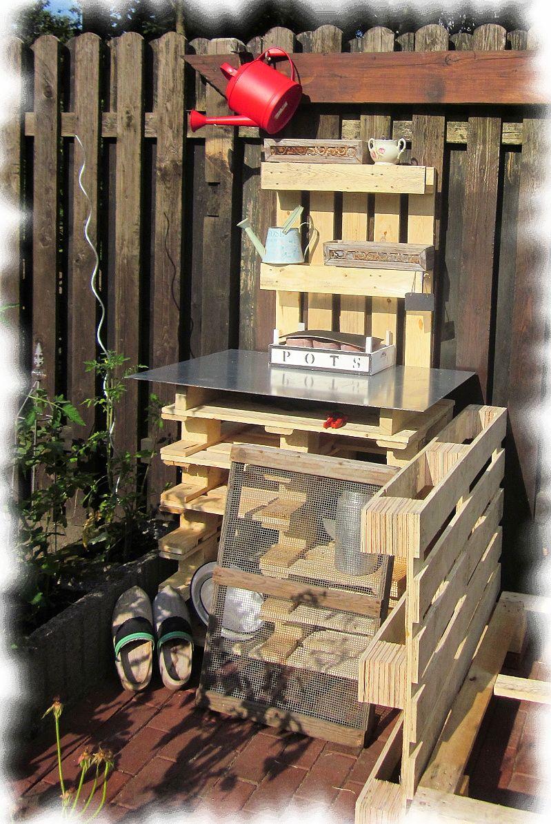 pflanztisch aus paletten reciclando palets y cajas de. Black Bedroom Furniture Sets. Home Design Ideas