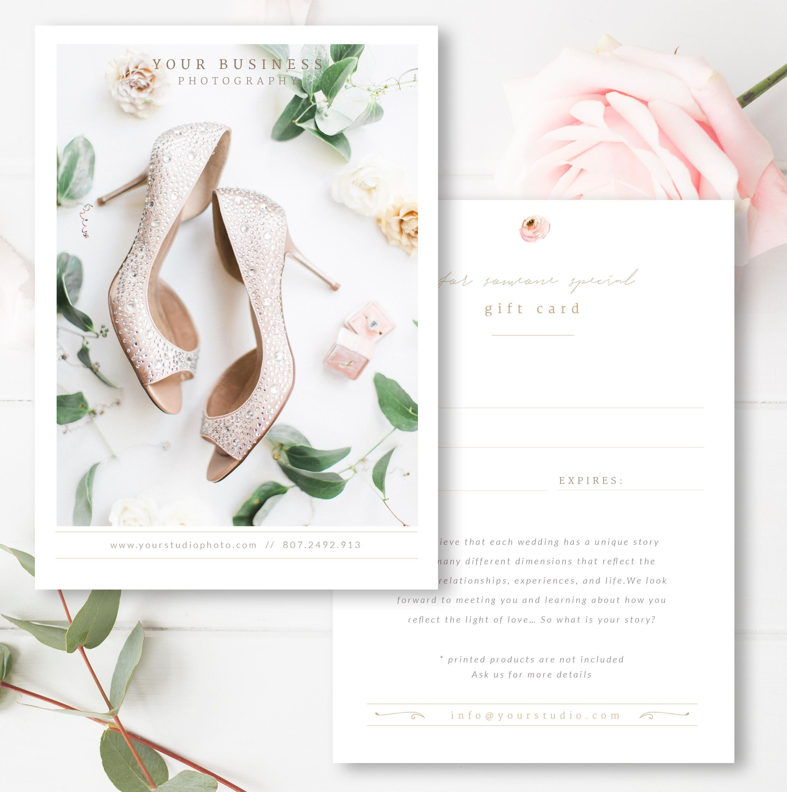Wedding Photographer Gift Card Template Gift Certificate Psd