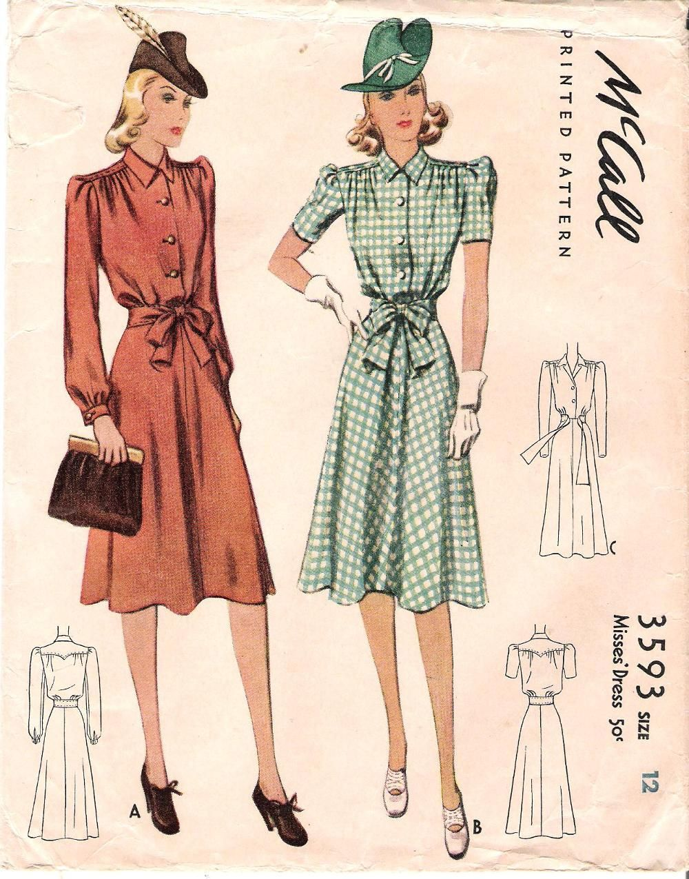 New photos on this wiki - Vintage Sewing Patterns, M3593size12,1940 ...