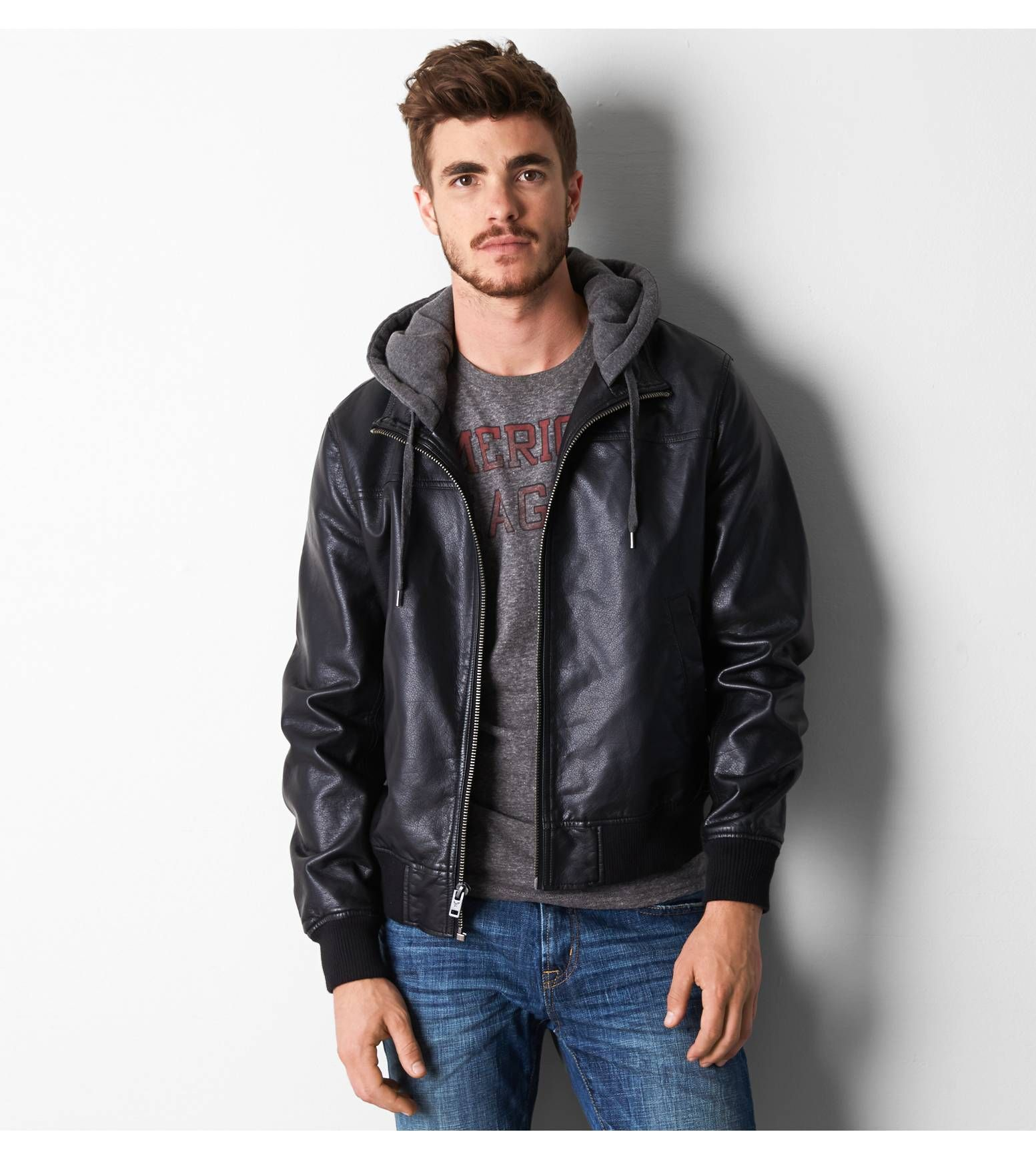 Leather jacket instagram - Black Aeo Hooded Bomber Jacket Show Us Your Aeostyle On Instagram Or Twitter For