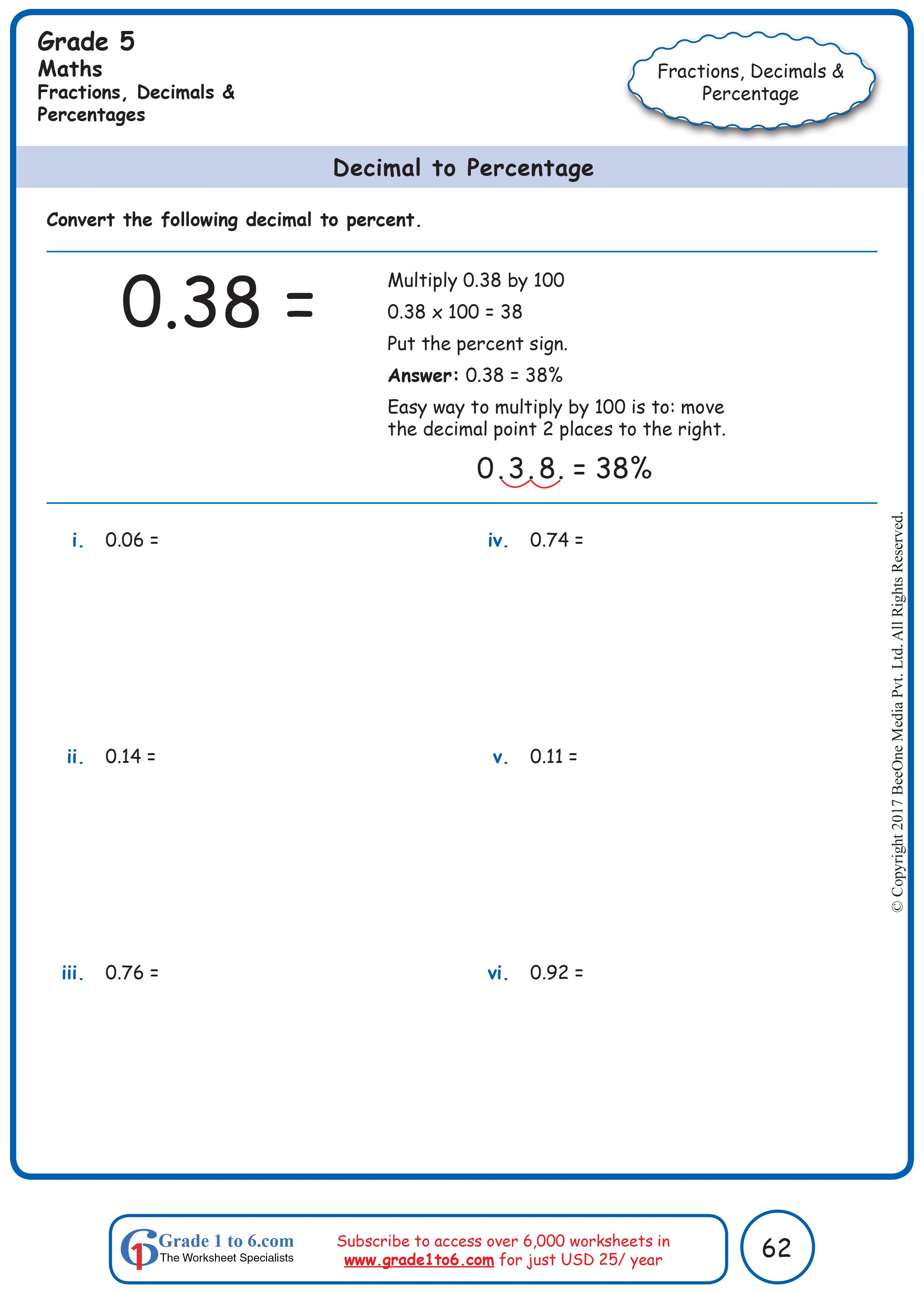 Decimals To Percentage Grade 5 Math