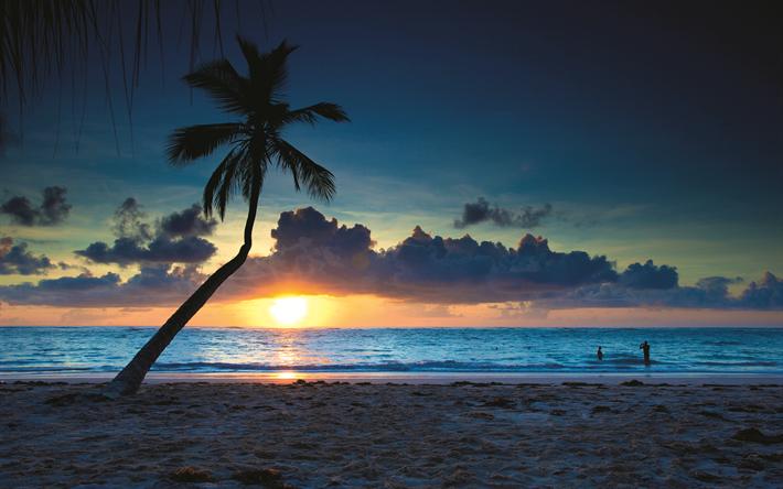 Descargar fondos de pantalla República dominicana, 4k, playa, verano, mar, puesta del sol