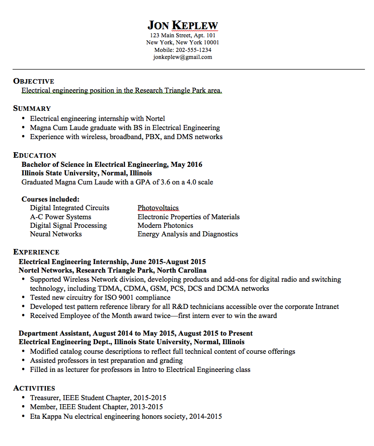 Sample Resume Electrical Engineering - http://exampleresumecv.org ...