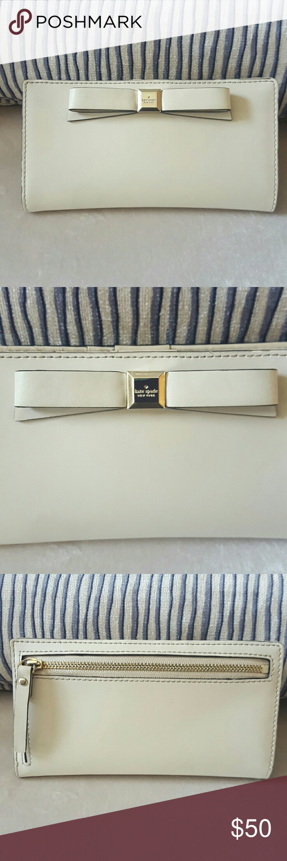 Kate Spade Bow Wallet Holds 12 credit cards plus a window for ID. 4 pockets/slots for money, receipts etc and back zip compartment for coins. Lightly used. kate spade Bags Wallets