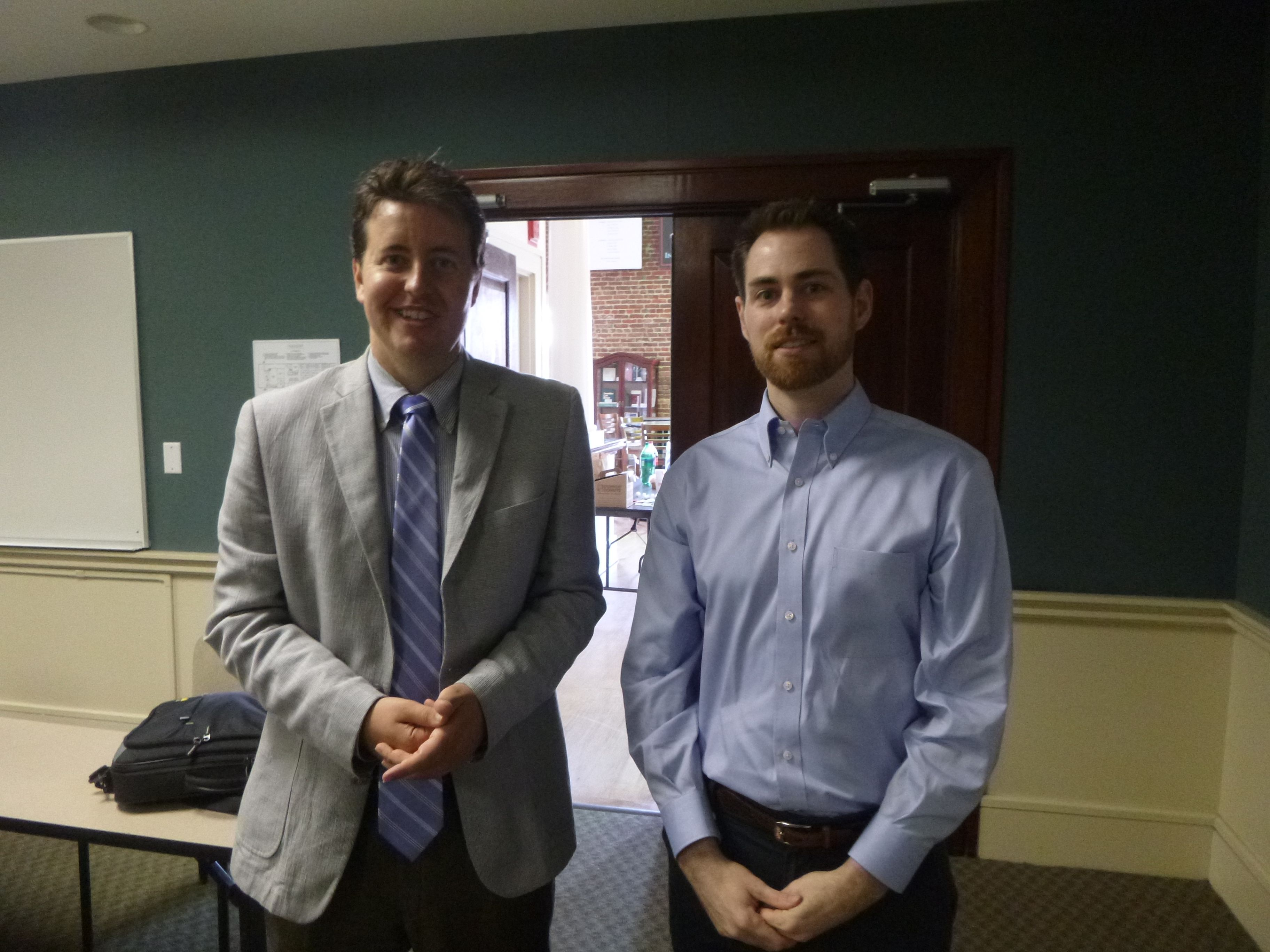 Attorney Evan Guthrie With David Abel Of Motley Rice At The South Carolina Bar Young Lawyers Division First Responders Wills Clinic Held New Law Guthrie Evan