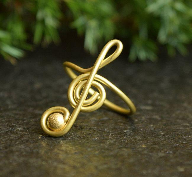Ringe - Ring mit Violinschlüssel, Musik Messingdraht Ring - ein ...