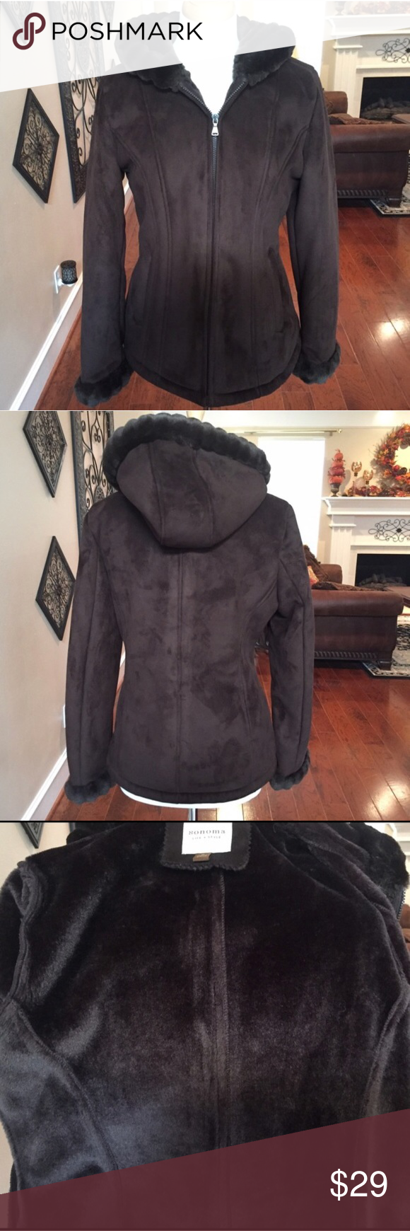 "Brown hooded comfy jacket size M 🌺 Beautiful brown hooded comfy jacket in Medium. Excellent condition. Interior is a warm very soft material. Bust measurement is approx. 41"" all around and length is approx. 26"". Remember to bundle 2 or more items and save! 😊. Please note all my items are in good condition with no stains, tears or rips unless otherwise noted. Any imperfections will be disclosed in listings. All items are recorded while packaging and during shipping to prevent any dishonest…"