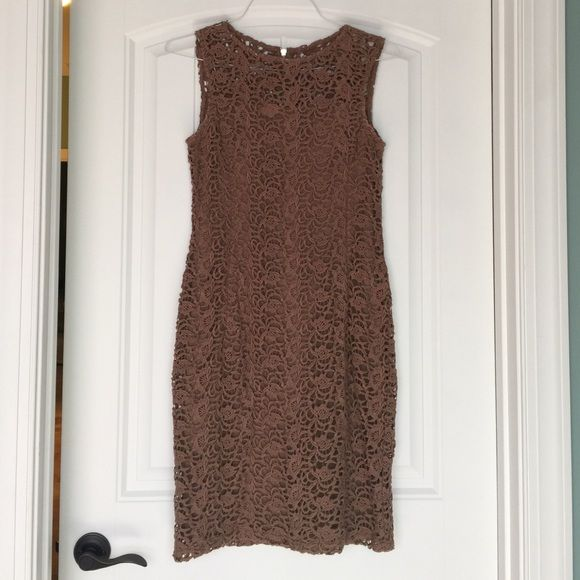 Brown lace dress Beautiful big lace dress with zipper back and sheer top, worn once. Katherine barlay Dresses Mini