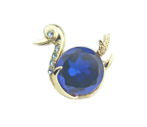 Simulated Sapphire Rhinestone Duck Brooch / by JElleVintage