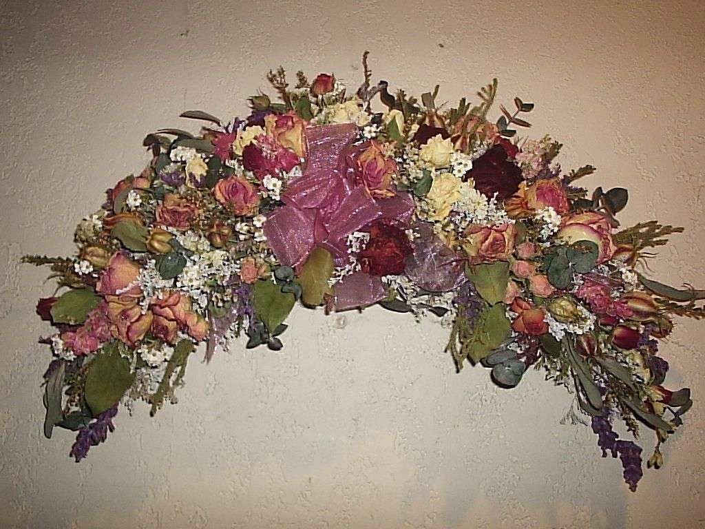 Silk And Dry Flowers Roses Swag Wall Baskets