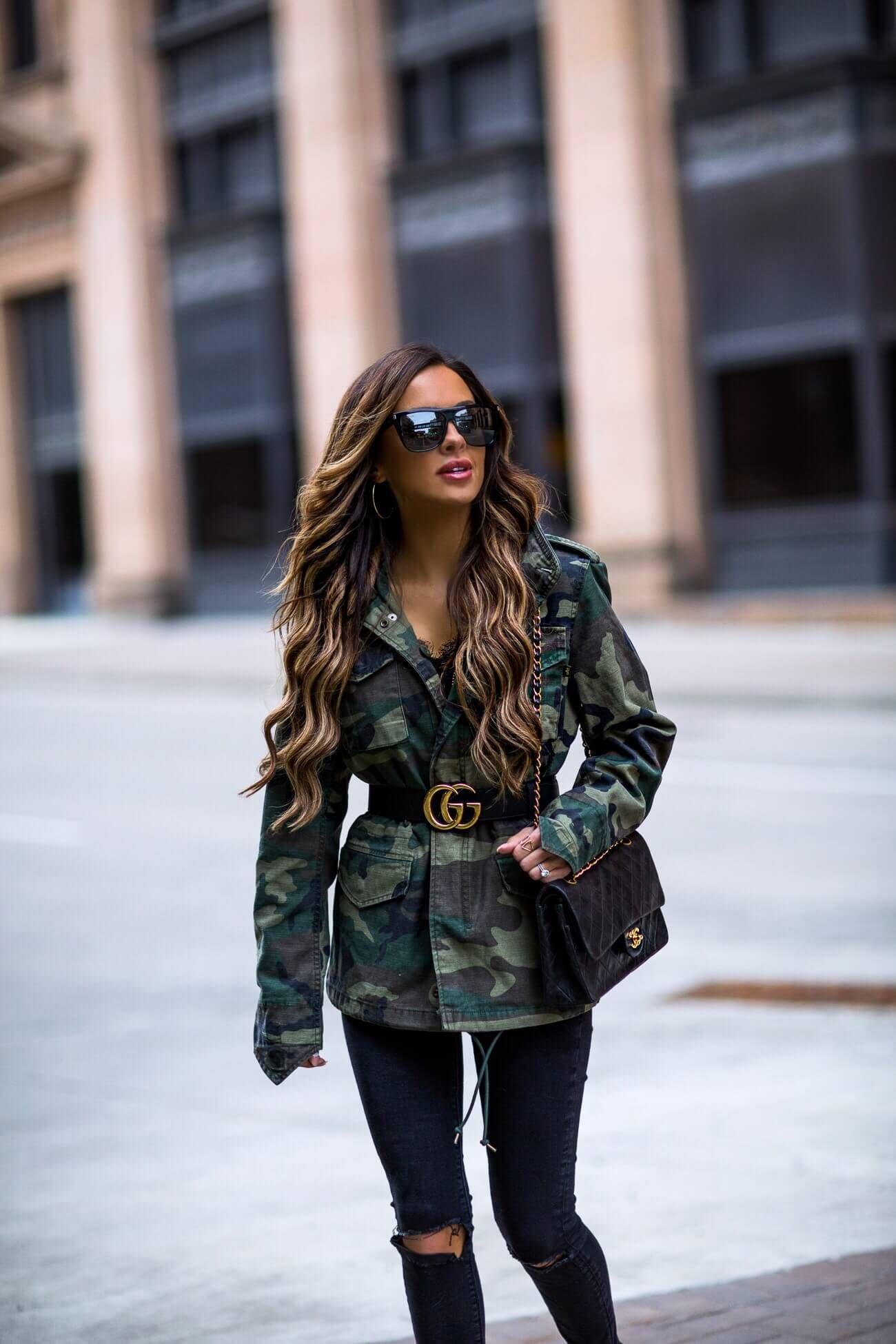 b61390c90bc fashion blogger mia mia mine wearing a camo jacket from shopbnop and a gucci  belt