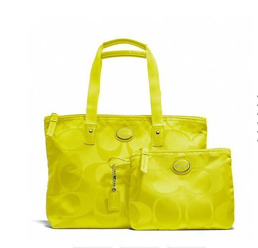 cd8ca9836a ... wholesale coach f77322 getaway signature tote nylon small packable bag  neon yellow 2pc set coach totesshoppers