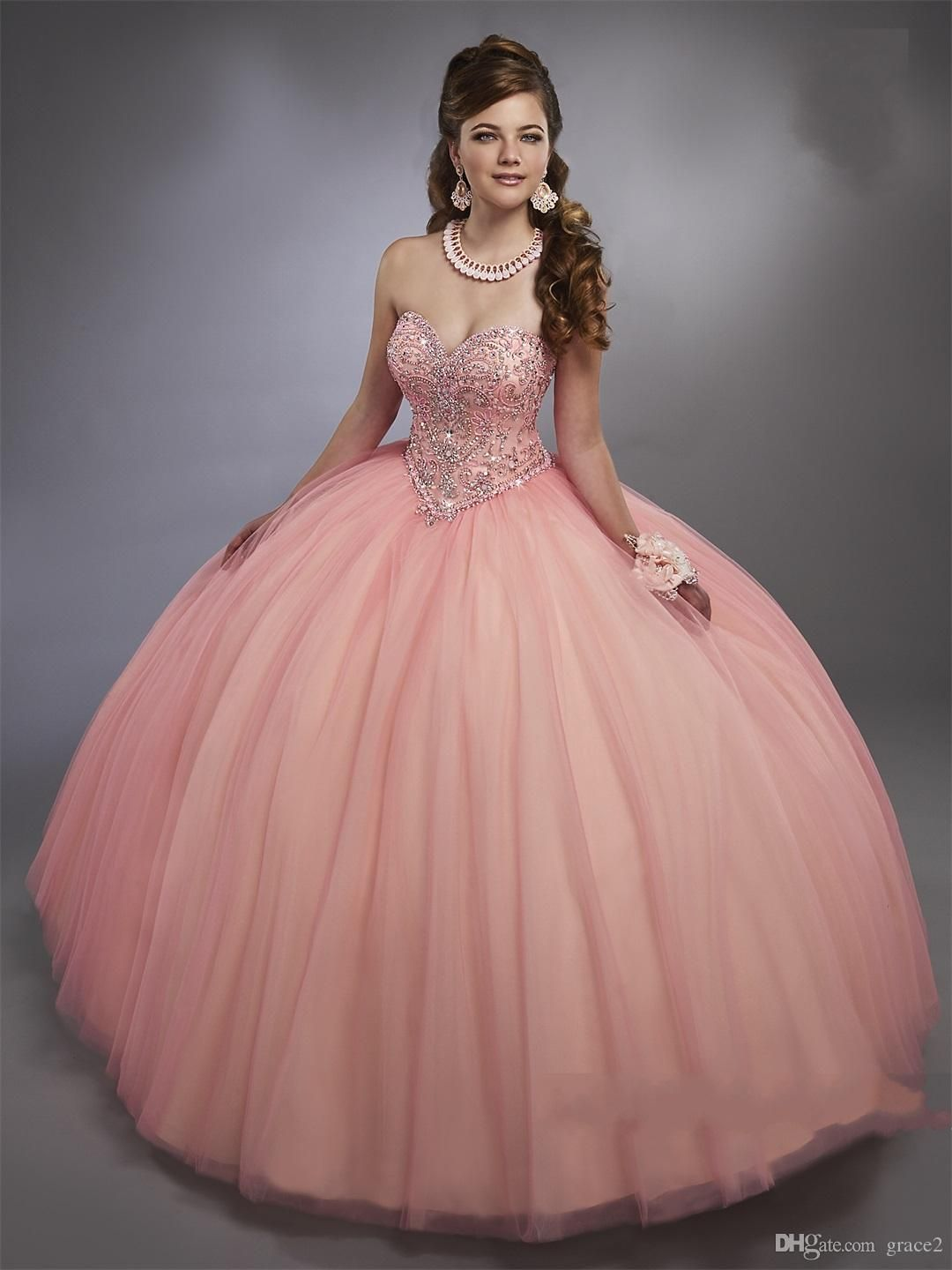 15ef43b1354 Pink Quinceanera Dresses 2017 Mary s with Sheer Bolero and Lace Up Back  Bling Bling Crystals Ball