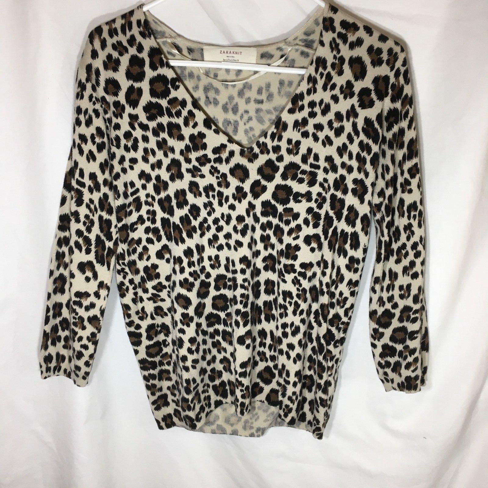 7d0b64e1a5f1 15.99 | Zara Knit Women's Size Large Leopard Print Stretchy V-Neck Knit Top  ❤ #zara #knit #womens #size #large #leopard #print #stretchy #neck  #Invierno ...
