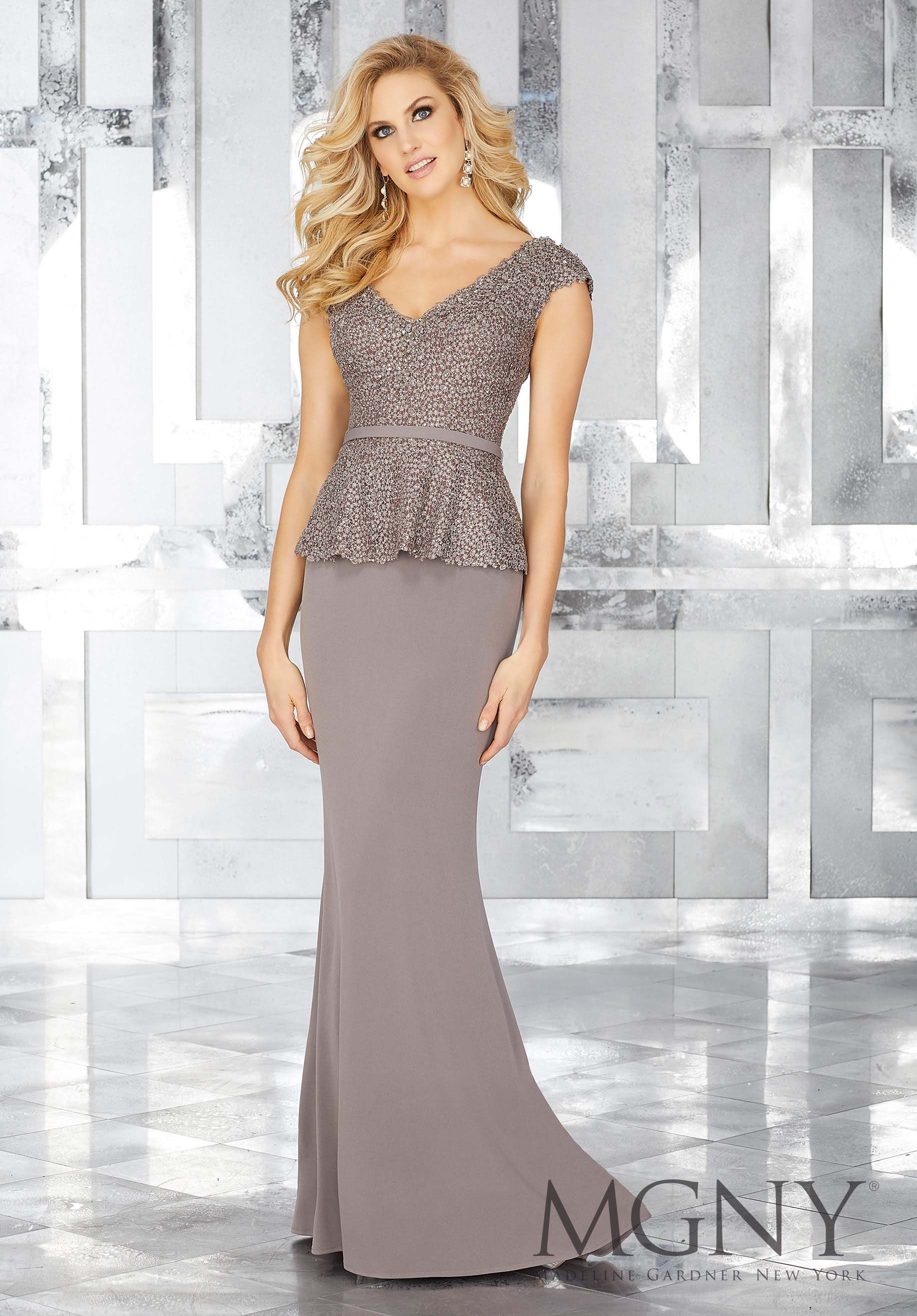 82093a34745c0 MGNY | Madeline Gardner, Evening Dress style 71604. Stunning Taupe Lace and Jersey  Special Occasion Gown with Sparkly Beading and Matching Removable Belt ...