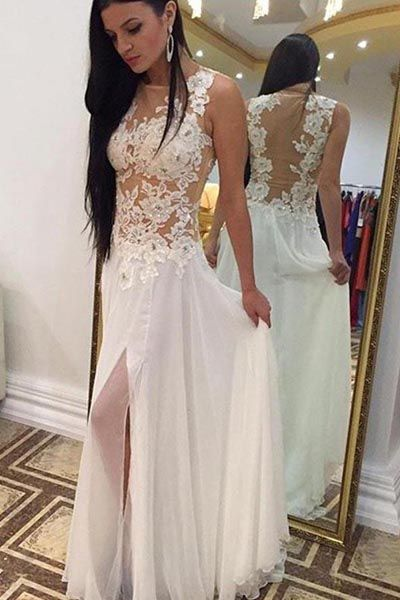 3594010f8f0 White Chiffon Floor Length Sleeveless Long Prom Dress with Beading