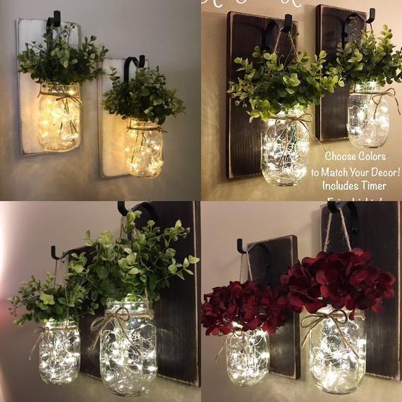 Photo of Rustic home accessories set with 2 mason jar candlesticksHanging mason jar