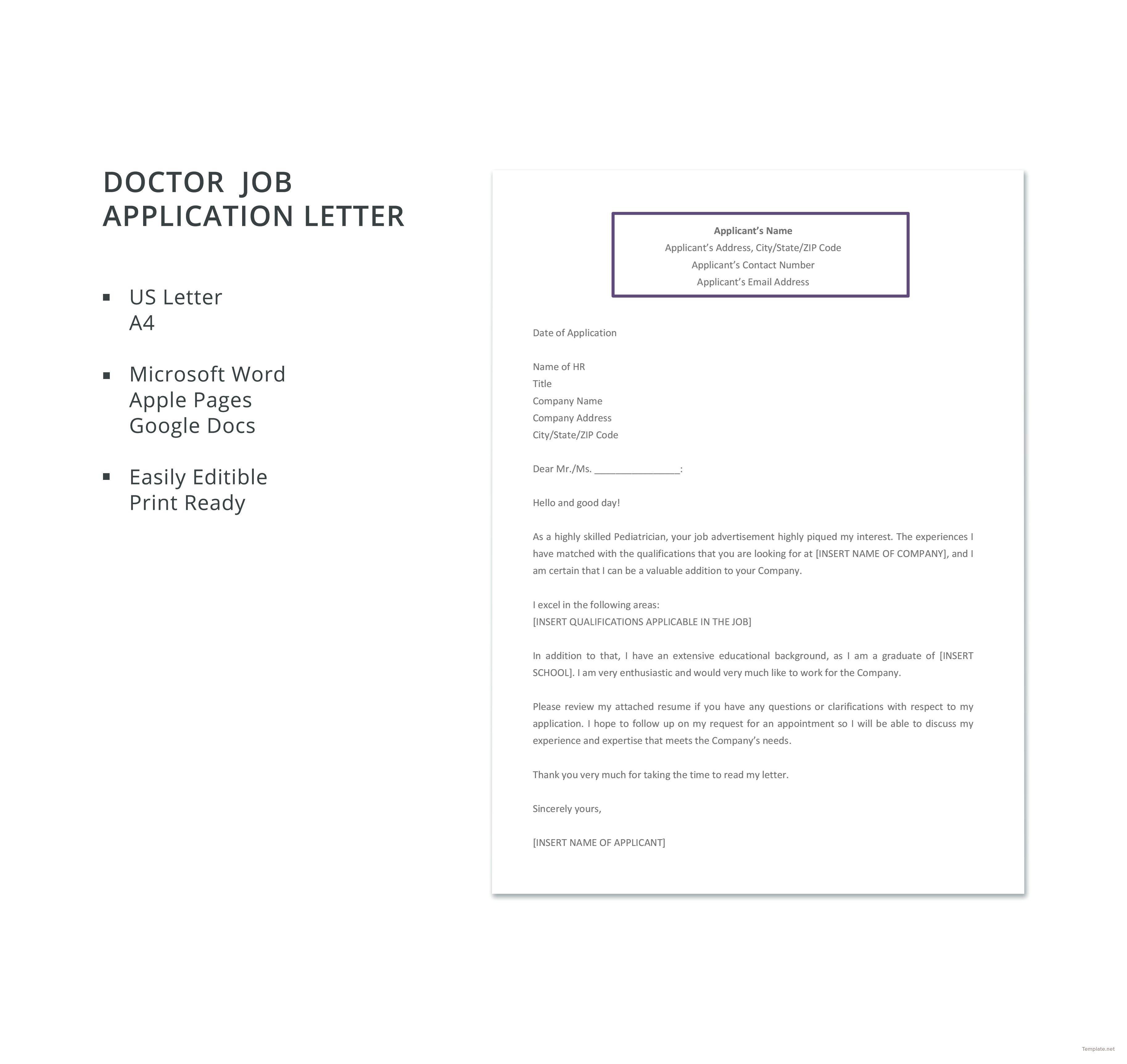 Free doctor job application letter dc pinterest letter free doctor job application letter template altavistaventures Images