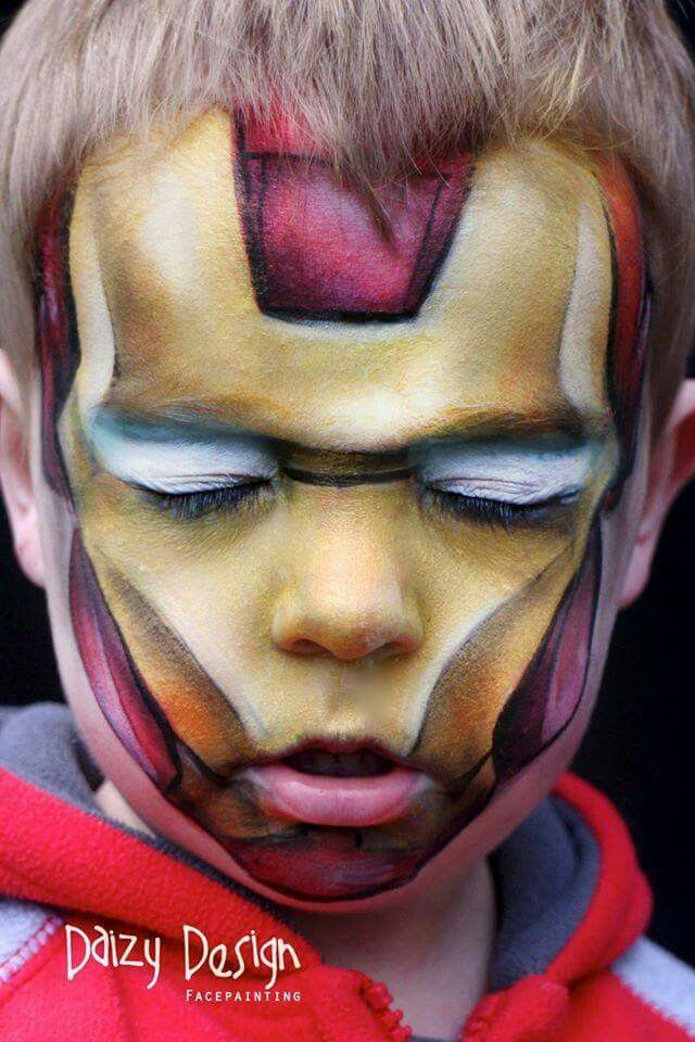Iron Man By Daizy Design Superhero Face Painting Face Painting For Boys Face Painting Halloween