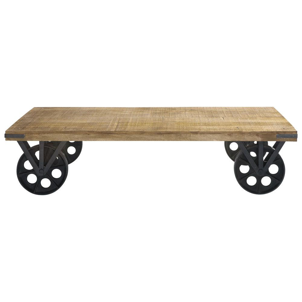 Wood And Metal Coffee Table On Castors Furniture Coffee Table