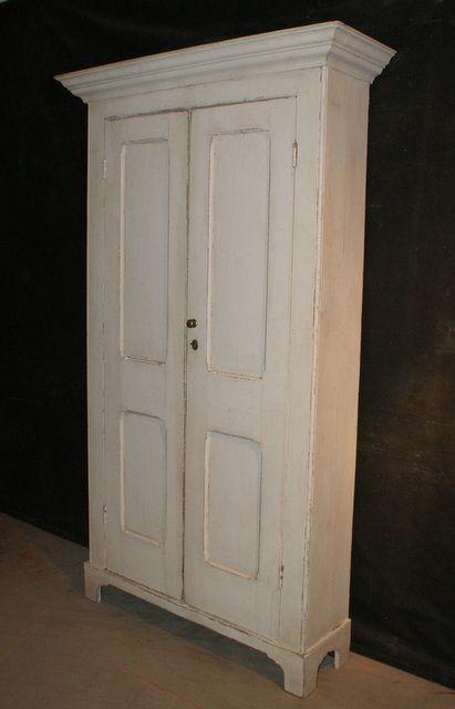 Antique Linen Cupboard-Antique 19th C painted antique pine linen cupboard.  1880. - Antique Linen Cupboard-Antique 19th C Painted Antique Pine Linen
