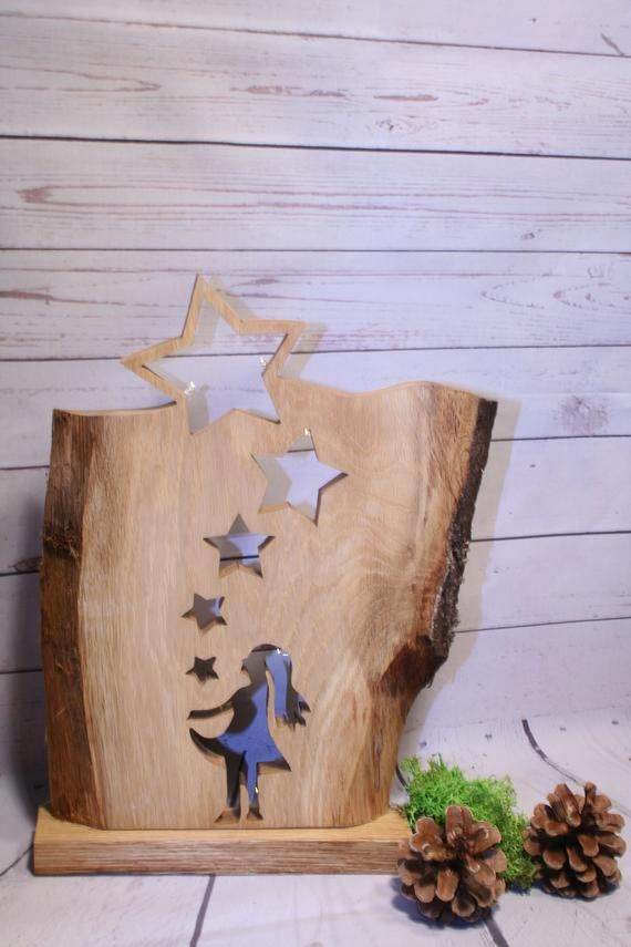 Wooden board wooden stele star board wooden decoration Christmas decoration Advent decoration LED lighting illuminated oak wood solid wood
