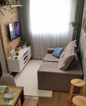 Decoração De Sala Pequena Simples Com Tijolinho Salaideias Sala