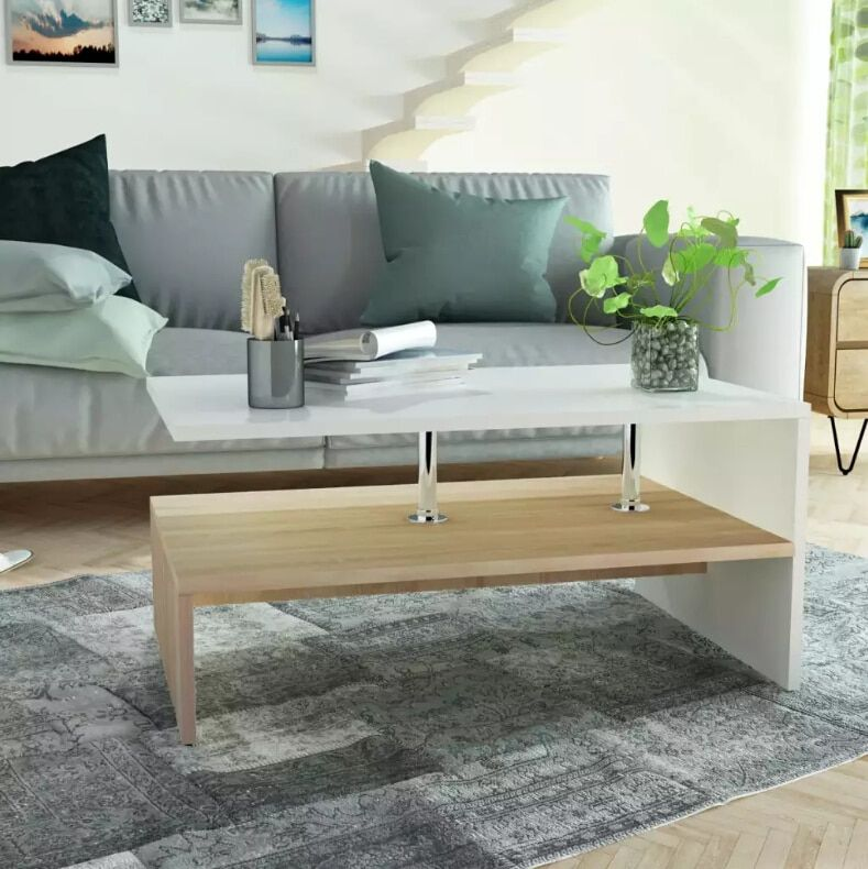 VidaXL Coffee Table Chipboard 90x59x42 Cm Oak And White Side ...