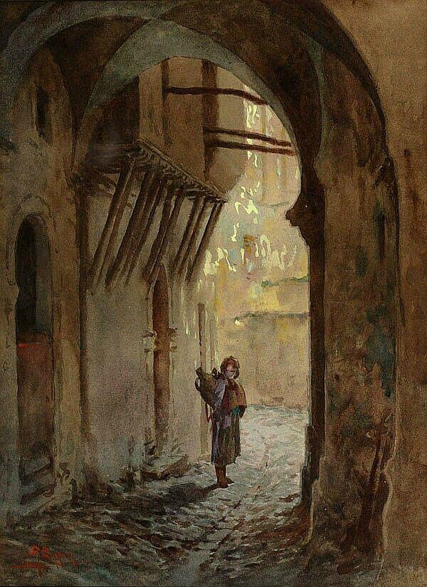 Peinture d'Algérie - Peintre Français, Antoine Barbier (1859-1948), Aquarelle, Titre: Une ruelle dans la Casbah.