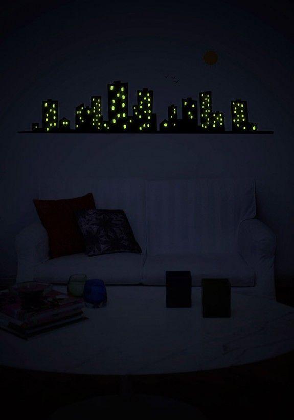 Adesivo De Parede Brilha No Escuro Cidade Adesivo De Parede