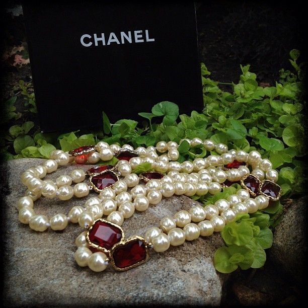 "1981 #Chanel Red Chiclet and Pearl Rope necklace. It measures 74"" long. #fashion #jewelry #classic #style #vintagejewelry #vintage #summer"