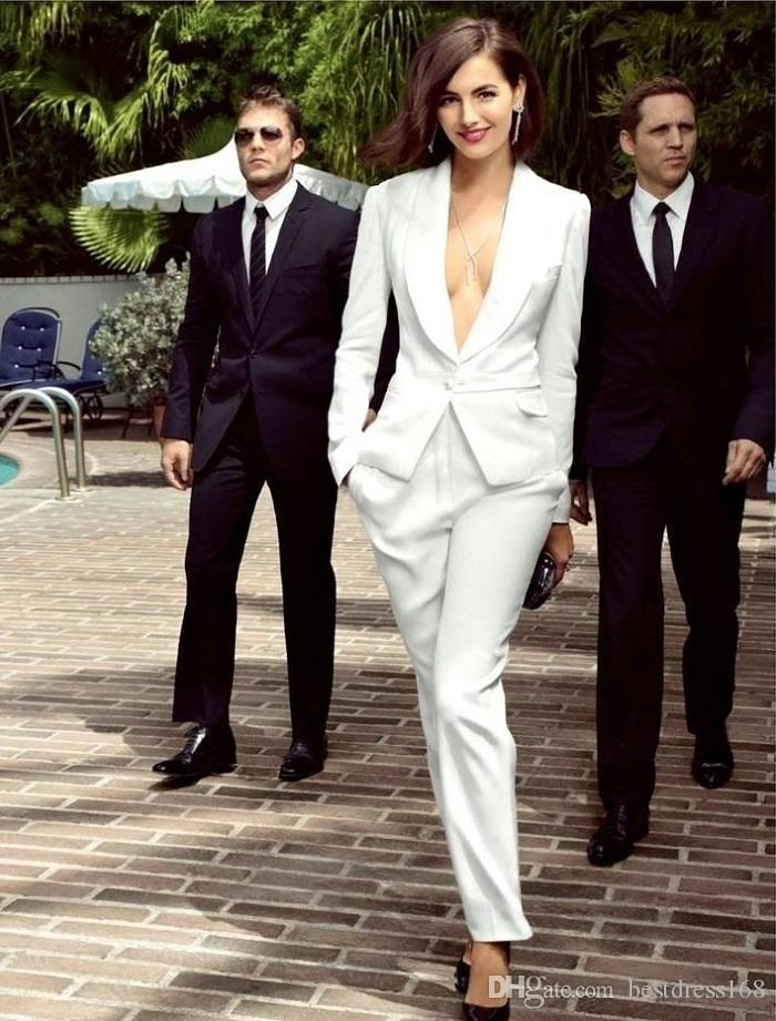 smart white ivory women tuxedos slim fit suits for women shawl ...
