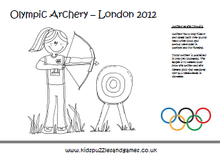 Olympics Colouring Sheets Coloring Sheets Archery Coloring Pages