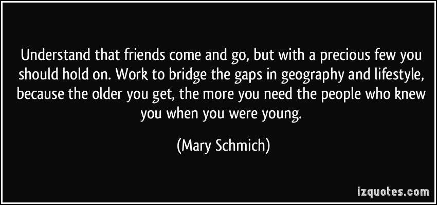 Mary Schmich Quotes   Understand That Friends Come And Go, But With A  Precious Few You Should Hold On. Work To Bridge The Gaps In Geography And  Lifestyle, ...